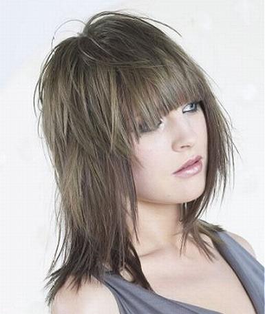Покажите стильную стрижку с прямой челкой для средних волос?