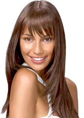 Покажите женскую стрижку - длинные волосы и челка?