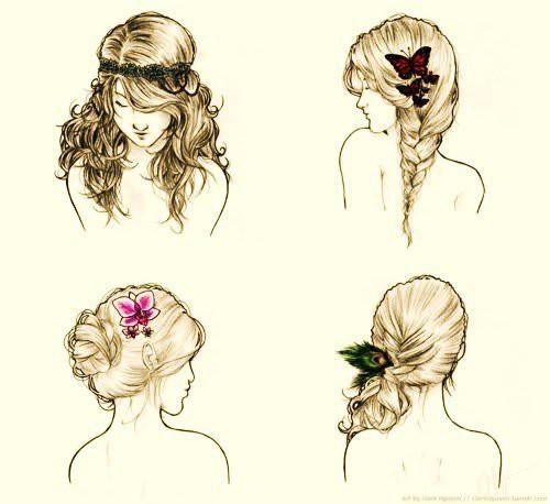 Картинки с причёсками для срисовки