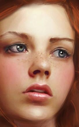 покажите голубоглазую девушку с веснушками и красным или рыжим оттенком волос?