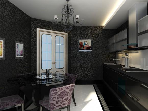 Покажите красивые обои на кухне темного цвета???