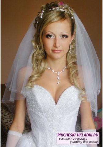 Фото причесок для невесты с фатой и диадемой
