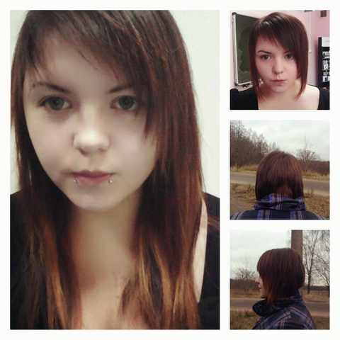 пришла в училище с длинными волосами, ушла с короткими :)