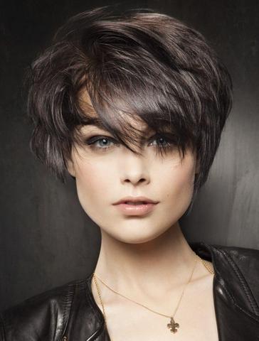 Покажите красивую женскую стрижку (тёмные волосы + чёлка)?